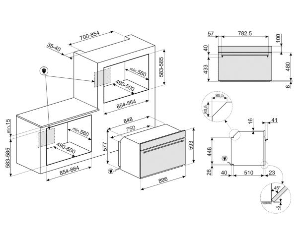 Einbaubacköfen SFP9395X1 SMEG | Smeg AT